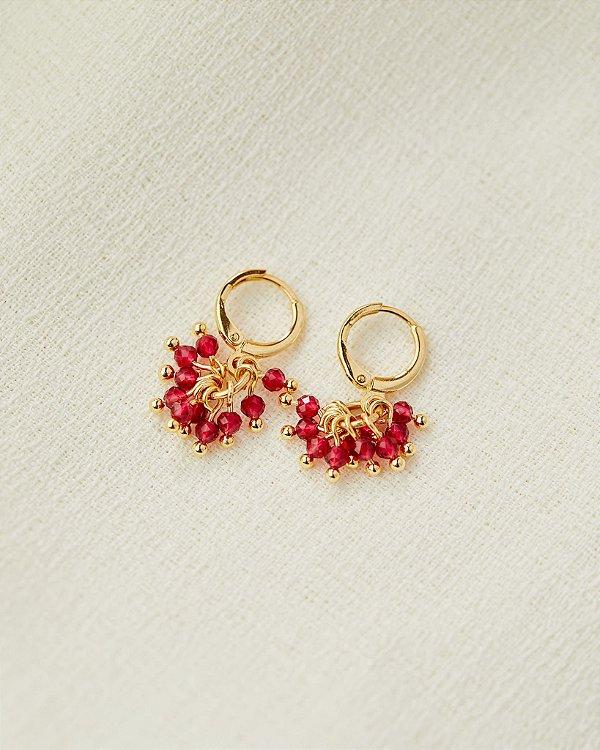Brinco Pencas Rosa - Dourado
