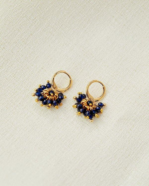 Brinco Pencas Azul - Dourado