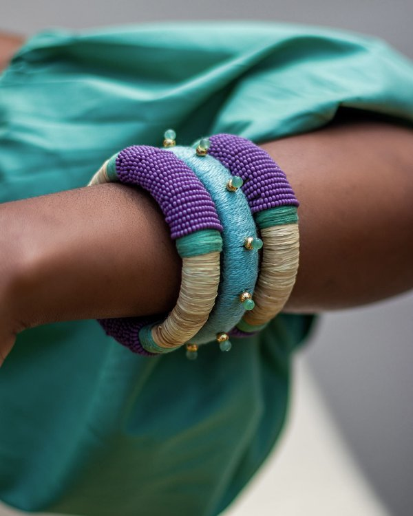 Bracelete Vitória Régia Menta e Lilás - Zâmbia