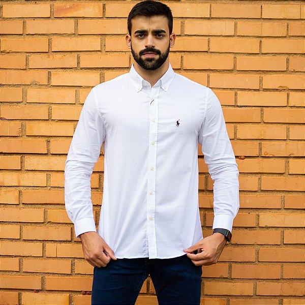 Camisa Social Polo Branca - Custom Fit