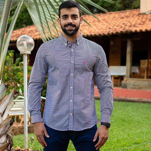 Camisa Social Polo Micro Xadrez Azul Marinho- Custom Fit