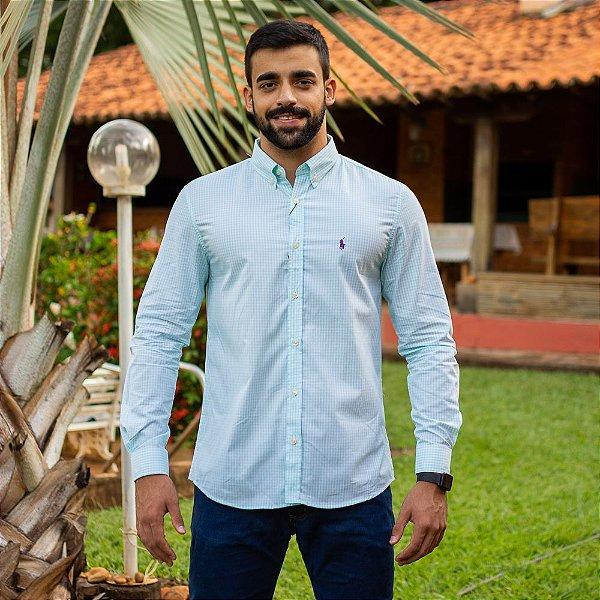 Camisa Social Polo Micro Xadrez Verde Água - Custom Fit