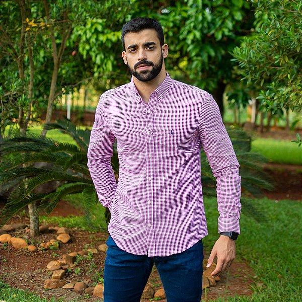 Camisa Social Polo Micro Xadrez Rosa Escuro - Custom Fit
