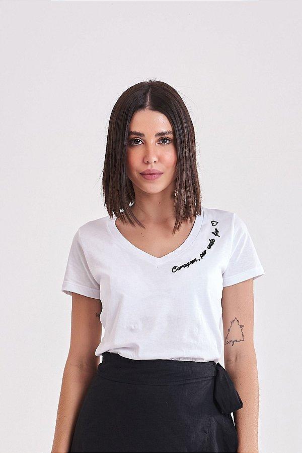 T-Shirt Bordada Branca Fé