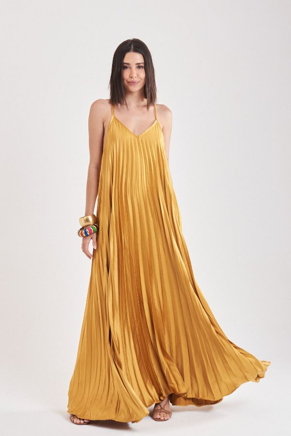 Vestido Plissado Amarelo Lourdes