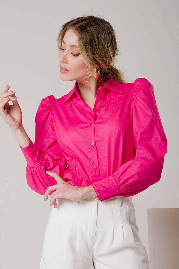Camisa Manga Bufante Rosa Aninha