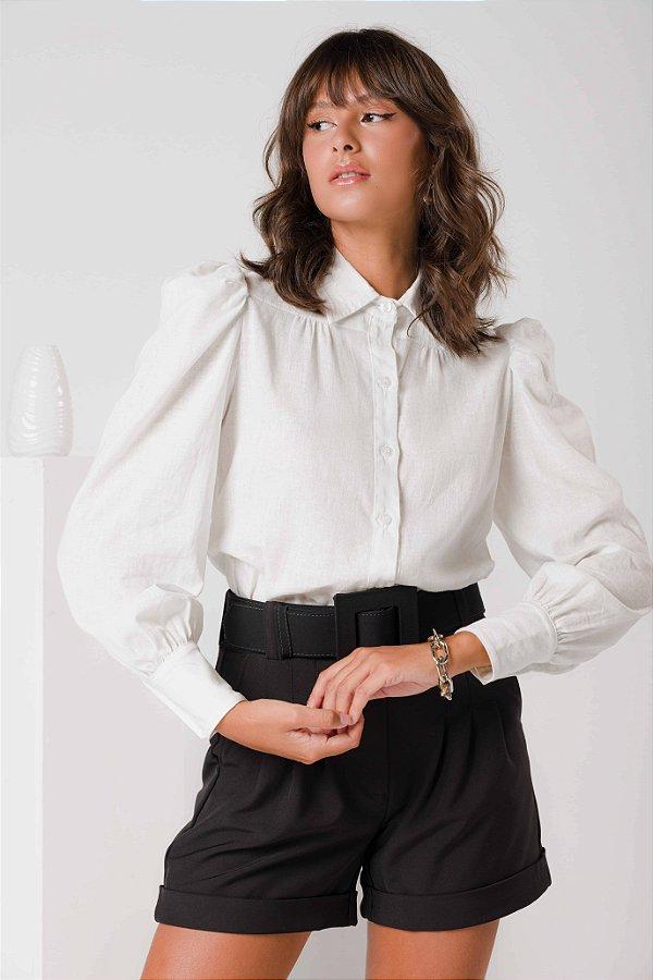 Camisa Linho Manga Bufante Off White Flavia
