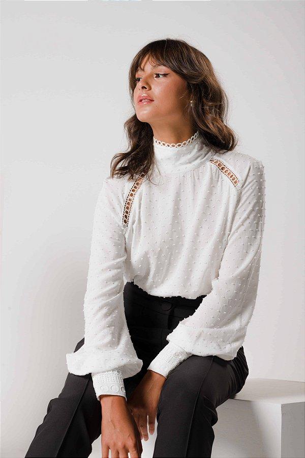 Blusa Branca Manga Bufante Isadora