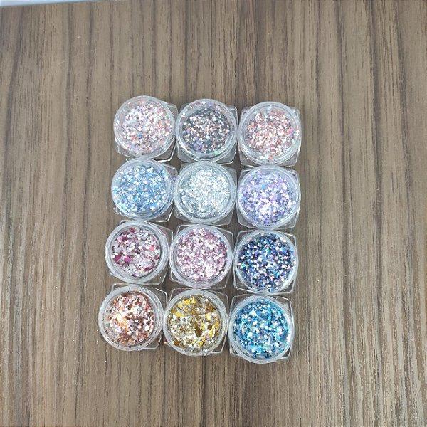 Glitter flocado para decoração de unhas Pequeno