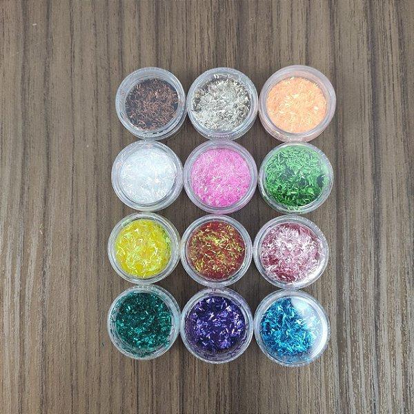 Glitter Nevado para decoração de unhas Pequeno
