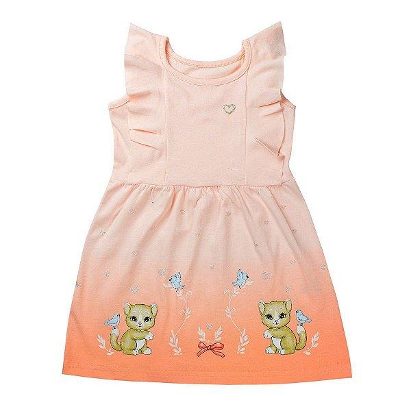 Vestido Infantil de Gatinhos Liso Pérola - Tileesul