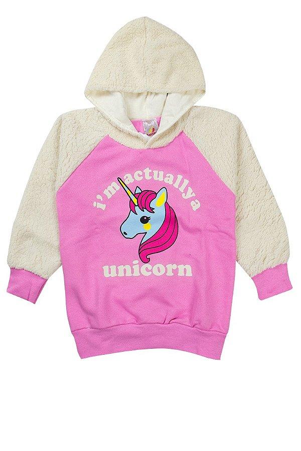 Casaco Infantil Menina Unicorn Rosa - Isensee