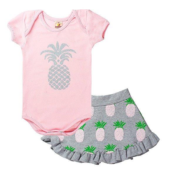 Conjunto Body Infantil Menina Abacaxi Rosa - Isensee