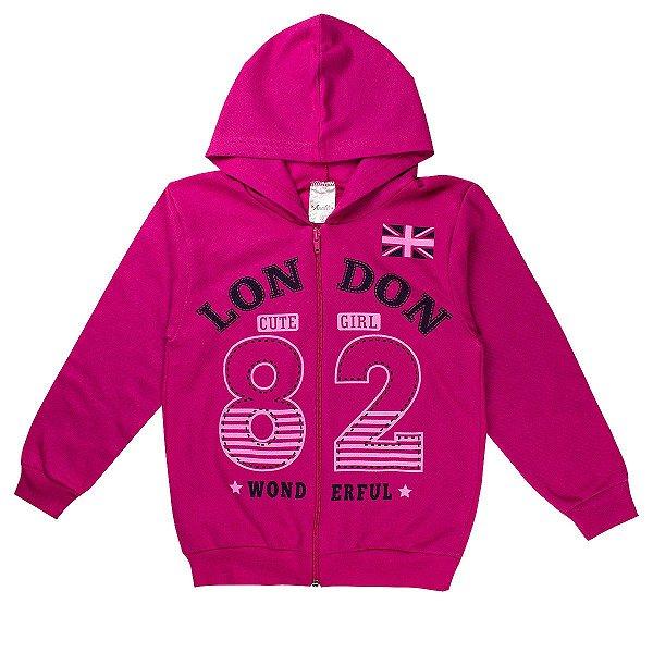 Jaqueta Infantil Feminina London Cut Girls Pink Com Capuz