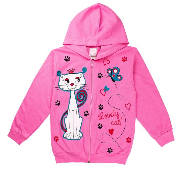 Jaqueta Infantil Feminina Love Cat Estampada Com Capuz