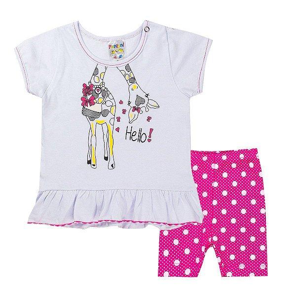 Conjunto Infantil Menina Hello Girafa Branco Com Pink - Fantoni