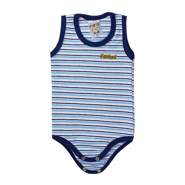 Body Infantil BeBê Listrado Azul - Fantoni