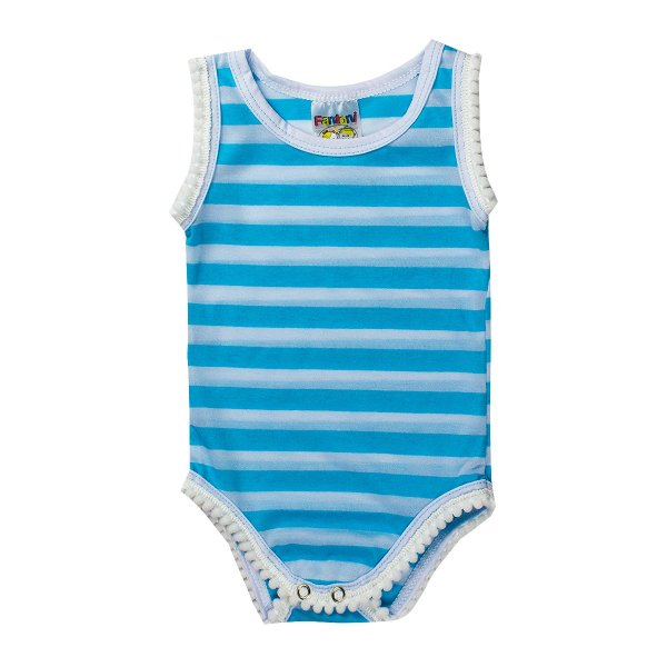 Body Infantil Bebê Malha Listrada Azul - Fantoni