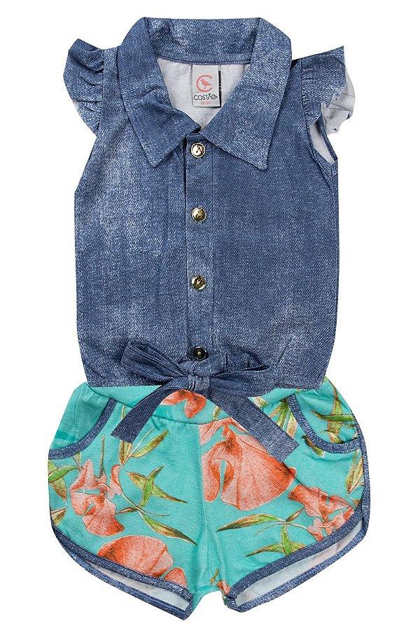 Conjunto Infantil Feminino Gola Azul - Costão Mini