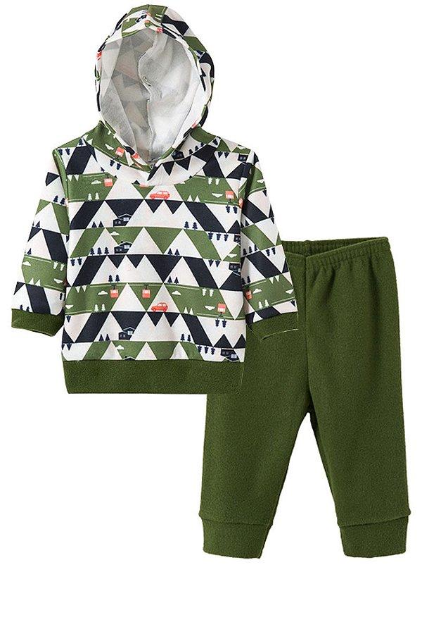 Conjunto Infantil Menino Soft Com Capuz Verde Fantoni