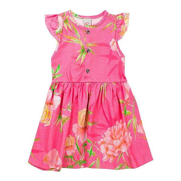 Vestido Infantil Feminino Floral Rosa - Costão Mini