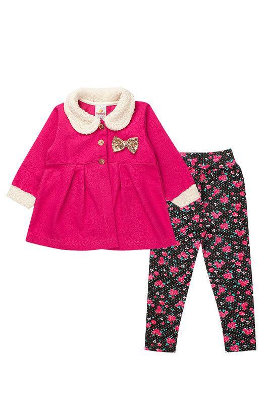 Conjunto de Moletom Bebê Modelo Batinha Pink Isensee