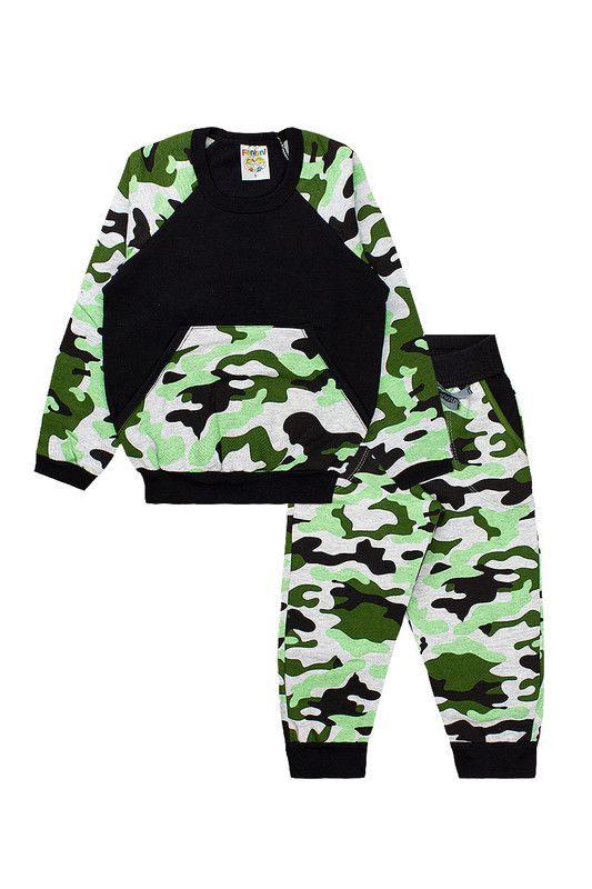 Conjunto Infantil Menino Moletom Camuflado C/ Bolso Verde