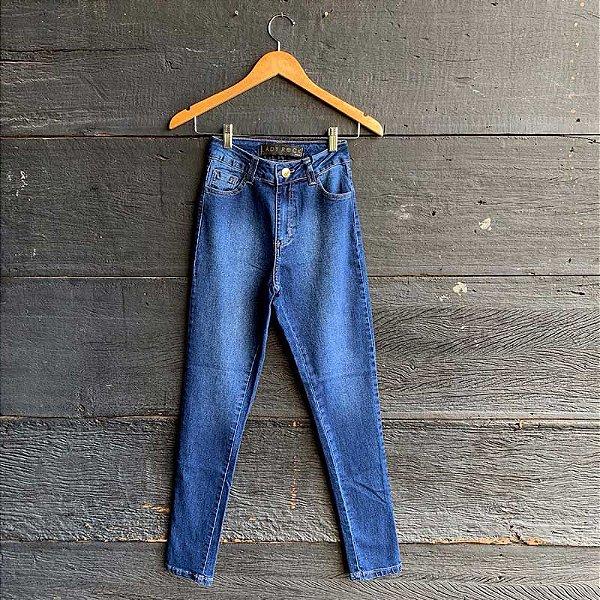 Calça Jeans Cintura Alta Lavagem Escura