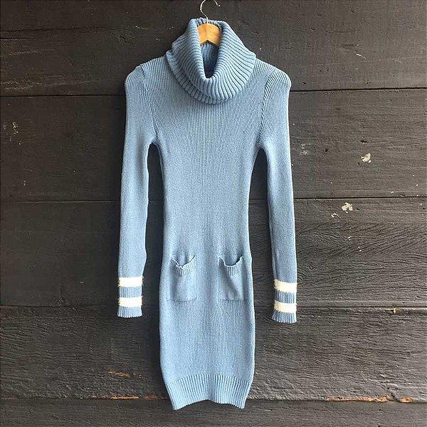 Vestido Tricot Gola Removível Jeans