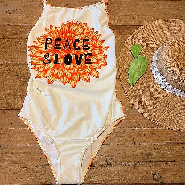 Maiô Decote Lateral Peace & Love Amarelo Água Doce