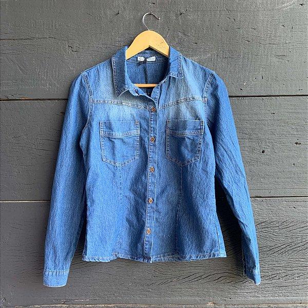 Camisa Jeans Lavagem Escura Lady Rock