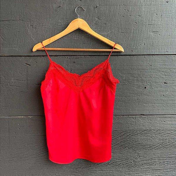 Regata Seda Silk c/ Renda Vermelha