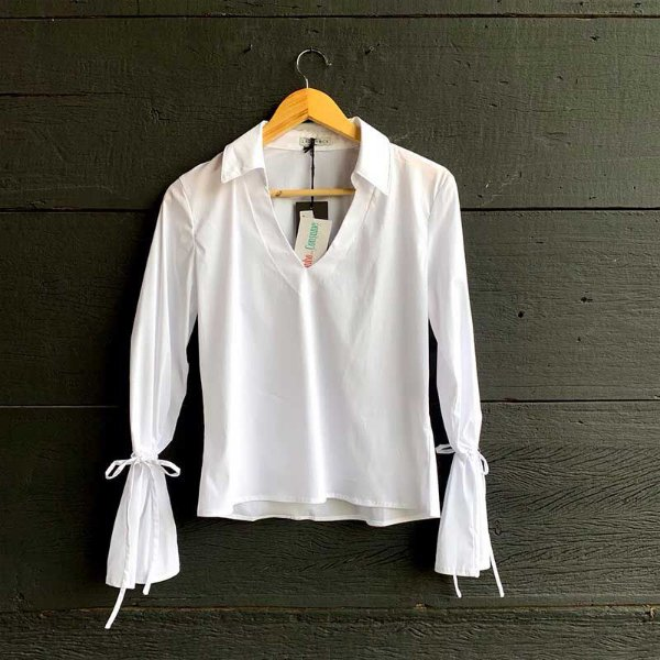 Camisa Manga Longa Decote V Branca
