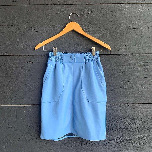 Saia Courino Com Bolso e Botões Forrados Azul Jeans
