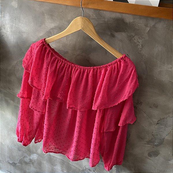 Blusa Ombro a Ombro Babado Pink