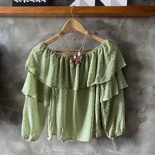 Blusa Ombro a Ombro Babado Verde Abacate