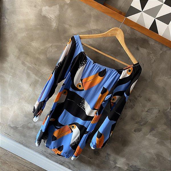 Vestido Tucano Azul Manga Longa