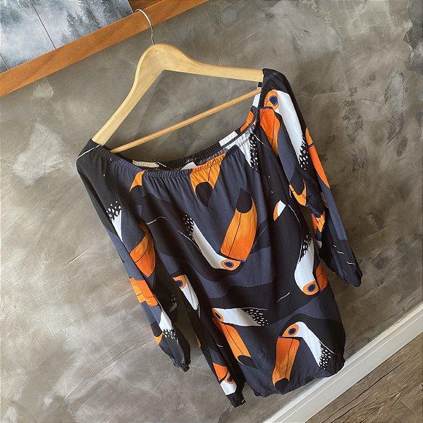 Vestido Ombro a Ombro Tucano Manga Longa Preto