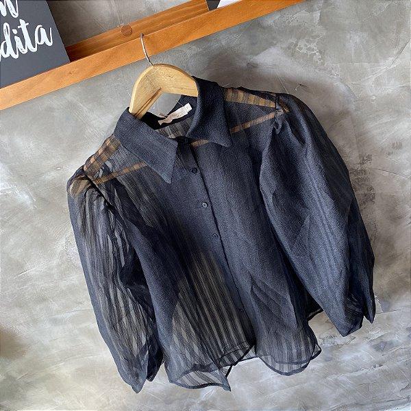 Camisa Manga Bufante c/ Transparência Preta