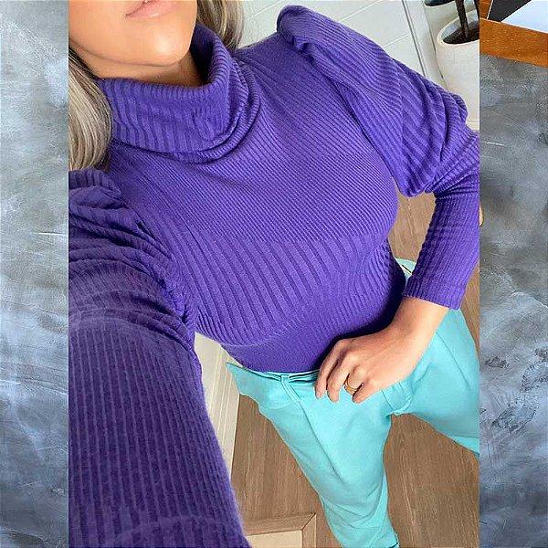 Blusa Manga Bufante Malha Tricot Gola Purple