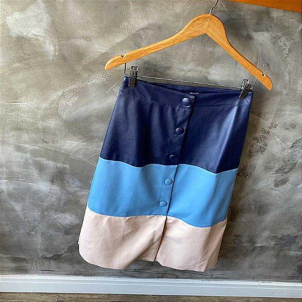 Saia Midi Tricolor Azul Courino