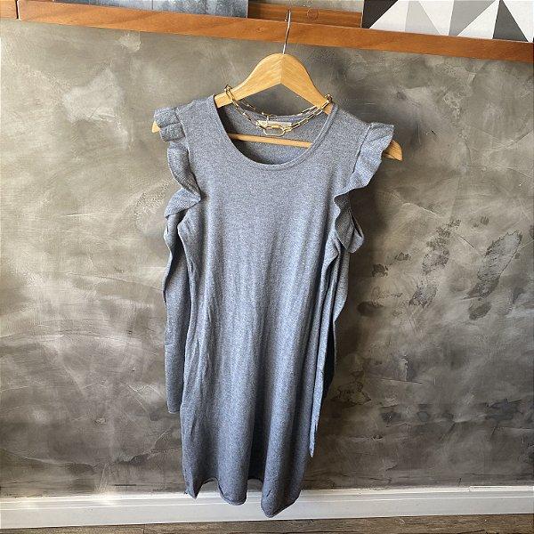 Vestido Modal Open Shoulder Cinza