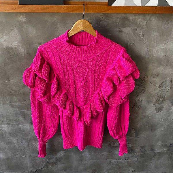Maxi Tricot Babados Rosa Pink Neon