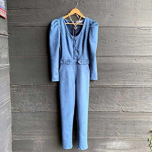 Macacão Suede Manga Bufante Botões Forrados Azul Jeans