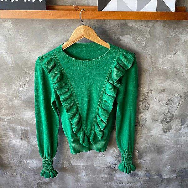 Tricot Modal Babado Verde