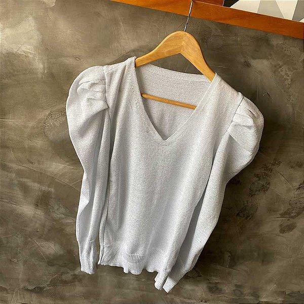 Blusa Tricot Lurex Decote V Prata