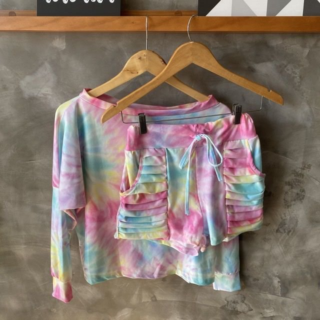 Conjunto Short Malha Tie Dye Candy Colors
