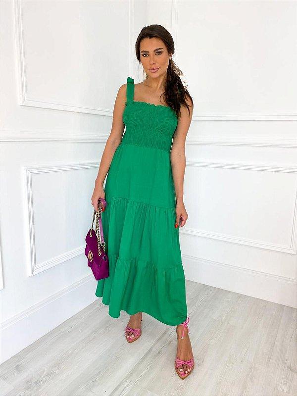 Vestido Midi Lastex Verde Bandeira
