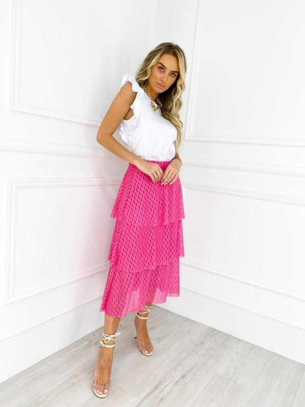 Saia Tule Camadas Pink