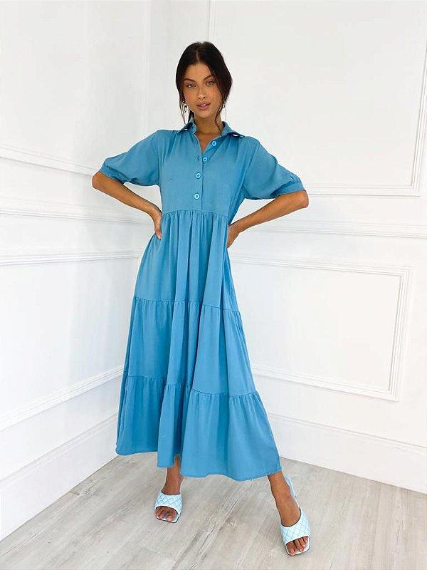 Vestido Midi Botões Azul